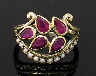 C748 UNIQUE style Genuine 9ct Yellow Gold Natural Ruby & Pearl Ring in your size