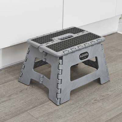 Addis Convenient Silver Folding Step Stool with Carry Handle 516931