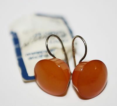 Vintage Soviet earrings AMBER SILVER 925 gold plated 3.26g original label USSR