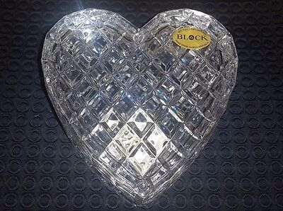"BLOCK Hand Made Full Lead Crystal Czech Republic HEART With lid Large 6""X6"" RARE"
