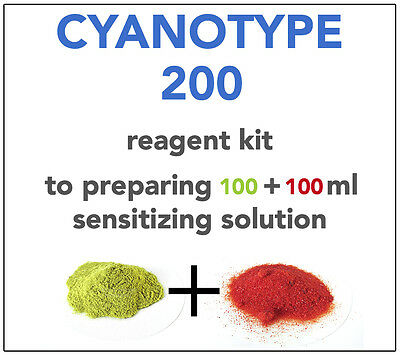 CYANOTYPE REAGENT KIT (for 100+100ml) ALL YOU NEED TO SENSITIZE 45-50 A4 SHEETS