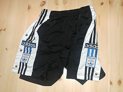 ADIDAS POPPERS VINTAGE SHORTS SIZE S D4 1990s SHIRT SHINY BLACK HOSE (g555)