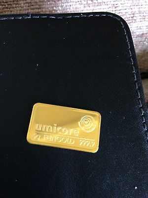 UMICORE  5gram Gold Bar Ingot 999.9 pure gold. Free UK only delivery.