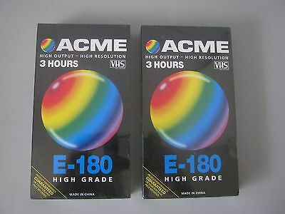 NEW - 2 X E-180 High Grade ACME Blank VHS Recording Tapes