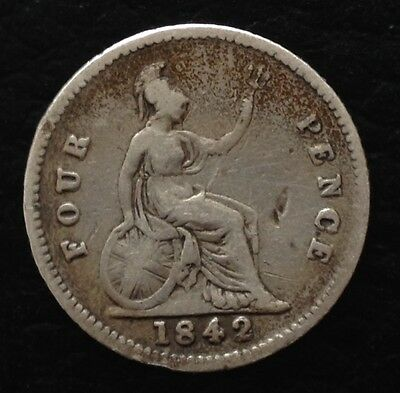 1842 Victoria Young Head Silver Groat Fourpence Coin