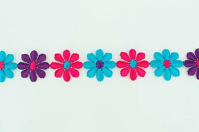 20mm Wide Iron-on 3.8 metres Multi-Col Daisy Flower Applique Motifs Trim