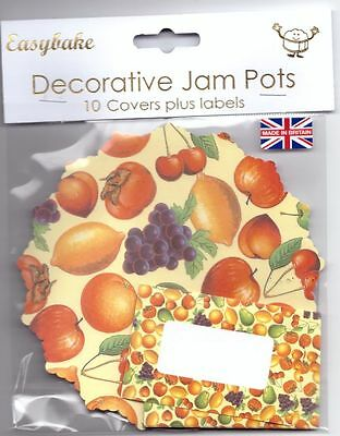 Easybake Pack of 10 Jampot Covers & Labels Fruit Strawberry or Mixed Berries