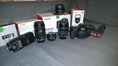Canon 70d(W) + 3 lenses + flash 430 EX II