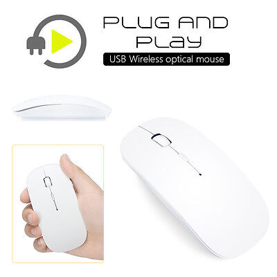 White 2.4 GHz Wireless Cordless Optical Scroll USB Mouse For PC Laptop Computer