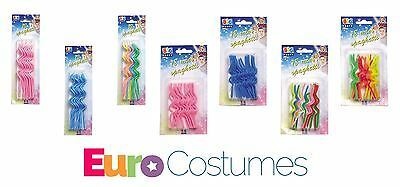 Spaghetti Curly Shaped Novelty Candles 8 Design Birthday Cake Topper Decoration