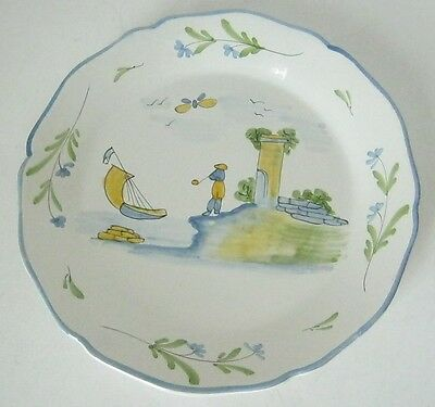 Hand Painted Pottery Plate Hound Smoking Pipe Sailboat Dog Scottish