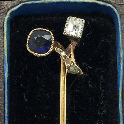 Fine, Edwardian 18ct, 18k, 750 Gold Sapphire & Diamond Berry Stick pin, C1910