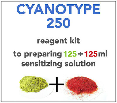 CYANOTYPE REAGENT KIT (for 125+125ml) ALL YOU NEED TO SENSITIZE 60-70 A4 SHEETS