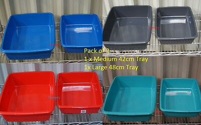 Pack of 2 Plastic Pet Cat Litter Tray s - Medium & Large (Different Colours)
