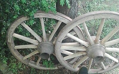 6x vintage old wooden cart wagon wheels FREE DELIVERY