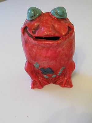 "1960's VINTAGE FROG BANK **MADE IN JAPAN** PAPIER MACHE ""NATIONAL POTTERIES"""