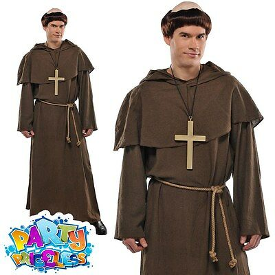 Mens Monk Friar Tuck Fancy Dress Costume Religious Robe Outfit with Wig