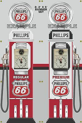 GAS PUMP SET Union 76 Gas Station Old Tokheim Display Banner Sign