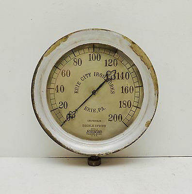 Antique Erie City Iron Works Foxboro Model A Steam Boiler Gauge Steampunk Brass