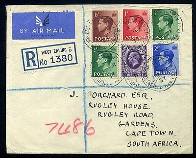 1937 King Edward VIII / King George V REGISTERED Air Mail to South Africa