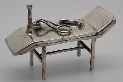 Vintage Sterling Silver 925 RARE Doctor Bed Miniature - Stamped - Made in Italy