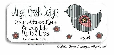 Country Primitive Daisy Bird Flowers Personalized Return Address Labels