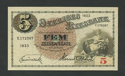 SWEDEN - 5 kronor  1933  P33p  Uncirculated  ( Banknotes )