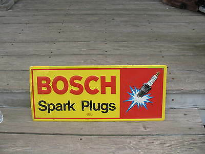"1981 Bosch Spark Plugs Embossed Advertising Sign by Scioto Signs  23 3/4"" x 10"""