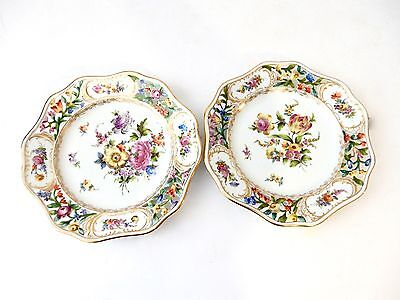19th-C. Dresden Hand Painted Cabinet Plates set of 2  Germany