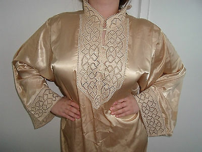 Moroccan Djellaba Kaftan Hood  Diamond Gold   Dress EID / Wedding / OCCASION