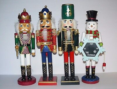 """Lot Of 4 Nutcrackers Christmas Soldiers Snowman For Craft Parts 14"""" Tall"""
