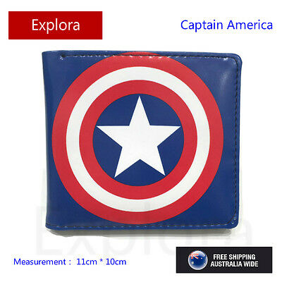 Boys Girls Kids Teenage Biofold PU Leather Wallet -- Captain America Logo