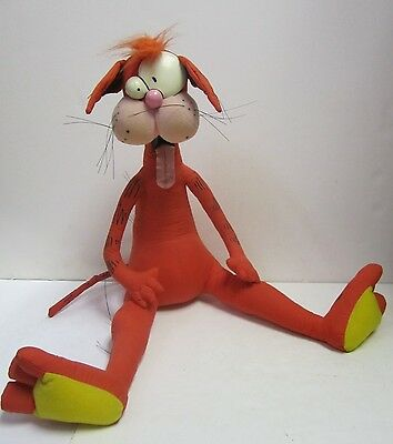 "Vtg 1987 Dakin Bill The Cat Plush Doll Toy 16"" Sitting Bloom County Opus Comic"
