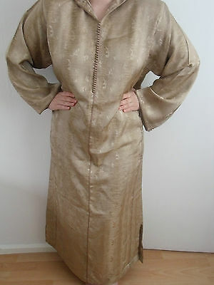 Moroccan Djellaba Kaftan Hood     Crème Gold   Dress EID / Wedding / OCCASION