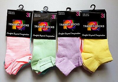 12 Pairs Trainer Liner Ankle Socks Womens Cotton Rich Sport Black White Pastel