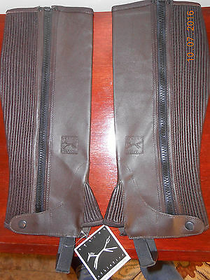 New! THORNHILL EQUINE ATHLETICS Synthetic Leather HALF CHAPS, Adult XL, BROWN