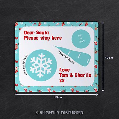Customised Christmas Eve Placemat - Blue Rudolph