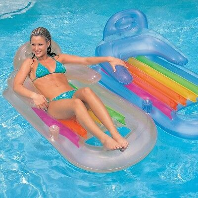 Inflatable Floating Lounger Pool Beach Air Mattress Water Floats Raft Swimming