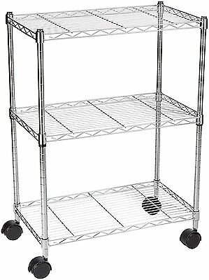 Basics 3-Shelf Shelving Unit on Wheels - Chrome New