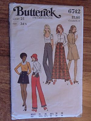 1970's VINTAGE BUTTERICK Sewing Pattern Womans SKIRT & PANTS Small Sz # 6742