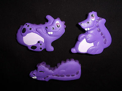 Hand Painted Ceramic Dragon Magnet Trio Purple