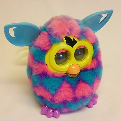 Furby Boom 2012 Blue And Neon Pink Hearts - Interactive Toy - Tested And Working