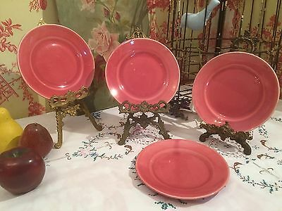 Set of 4 Small Pink Sideplates Tea Plates 16cm Vintage Retro Shabby Chic 1950s