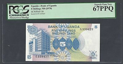 Uganda 5 Shillings ND(1979) P10 Uncirculated Graded 67