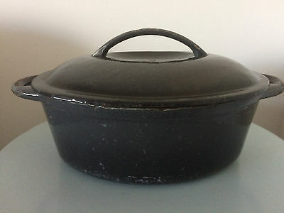 CAST IRON RESAURANT COMMERCIAL CASSEROLE DISH PAN WITH LID ( 370mm X 230mm )