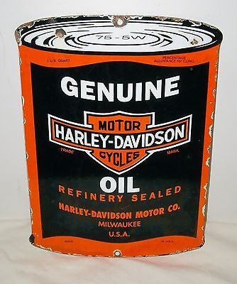 "Harley-Davidson Porcelain Advertising Sign Shaped Like a Can of Oil - 11"" x 8"""