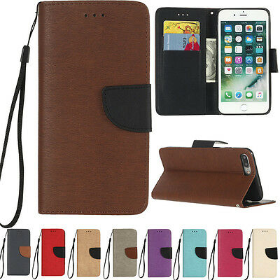 Hit Color Card Holder Leather Flip Wallet Case Cover Stand For Various Phone