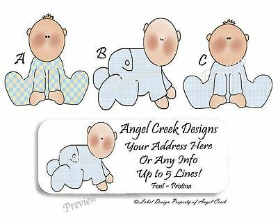 Cute Cuddles Baby Boy Baby Shower Personalized Return Address Labels