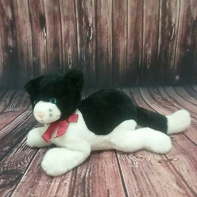 "Applause Bravo Plush Kitty Cat 15""  Black and White W/ Red Ribbon"
