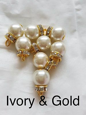 10 Pearl Beads / IVORY GOLD / Pakistani Indian art and craft